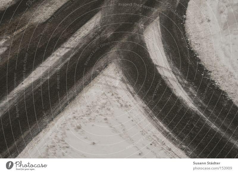 Winter Street Snow Sand Ice Driving Asphalt Tracks Curve Furrow Skid Scratch Right ahead Cement Black ice