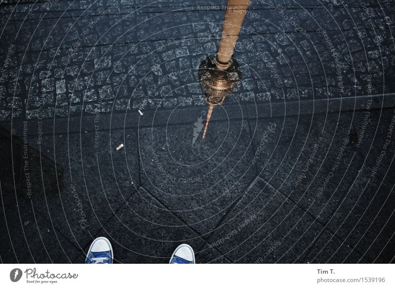 City Berlin Sidewalk Middle Capital city Downtown Puddle Stagnating Television tower Chucks Pedestrian precinct
