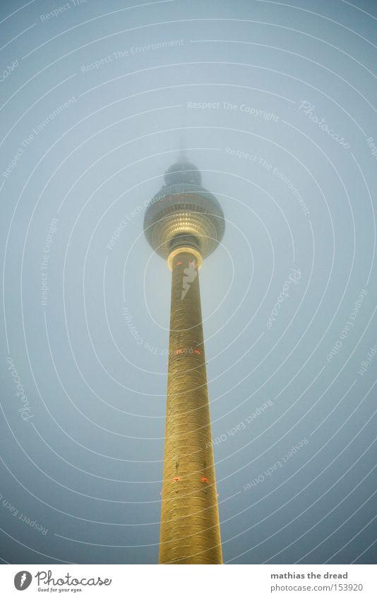 Big Brother Berlin TV Tower Television tower Transmitting station Alexanderplatz Downtown Berlin Landmark Tall Sphere Fog Night Dark Lamp Lighting Mystic