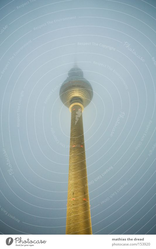 Sky Dark Berlin Lamp Lighting Fog Tall Tower Trust Sphere Monument Landmark Mystic Downtown Berlin Berlin TV Tower Television tower