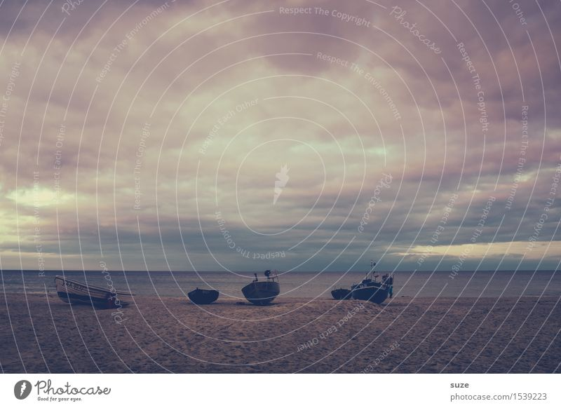 The Dark Side Calm Vacation & Travel Freedom Beach Ocean Retirement Nature Landscape Sand Sky Storm clouds Horizon Gale Coast Baltic Sea Fishing boat Rowboat