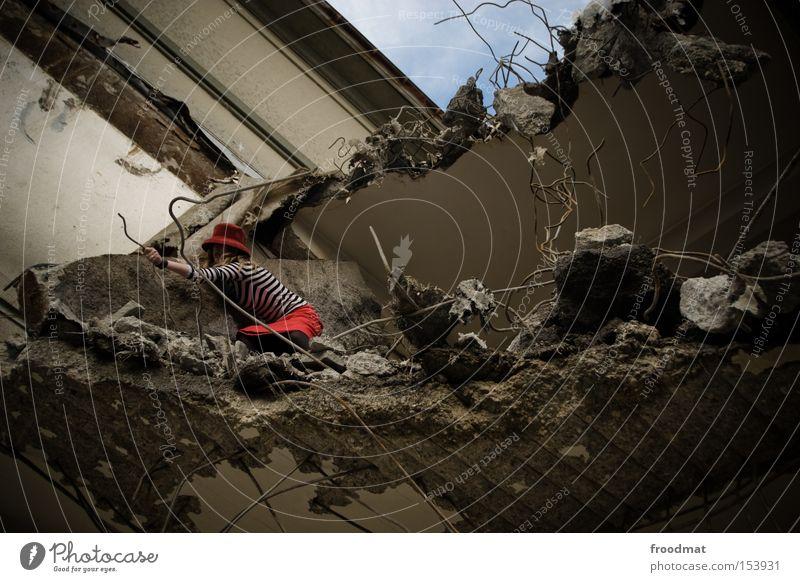 Woman Concrete Dangerous Broken Construction site Transience Derelict Hat Skirt Discover Decline Edge Wire Dismantling Development Advancement