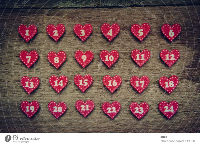 Love counts Handicraft Decoration Christmas & Advent Culture Wood Sign Digits and numbers Heart Wait Small Cute Brown Red Anticipation Creativity Arrangement