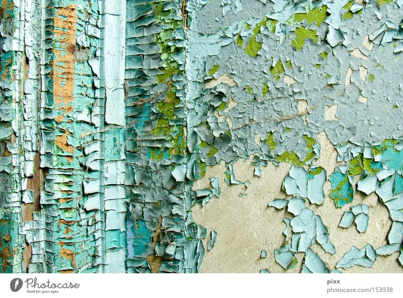 color desire Flake off Varnish Wall (building) Redecorate Time Old building Subsoil Structures and shapes Remainder Blue Green Turquoise Light blue Surface