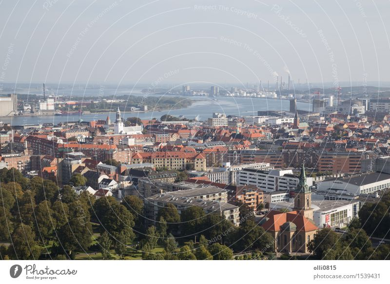 View from Aalborg Tower Tourism City trip River Limfjord Denmark Europe Town Port City Building Architecture Vacation & Travel Jutland cityscape danish panorama