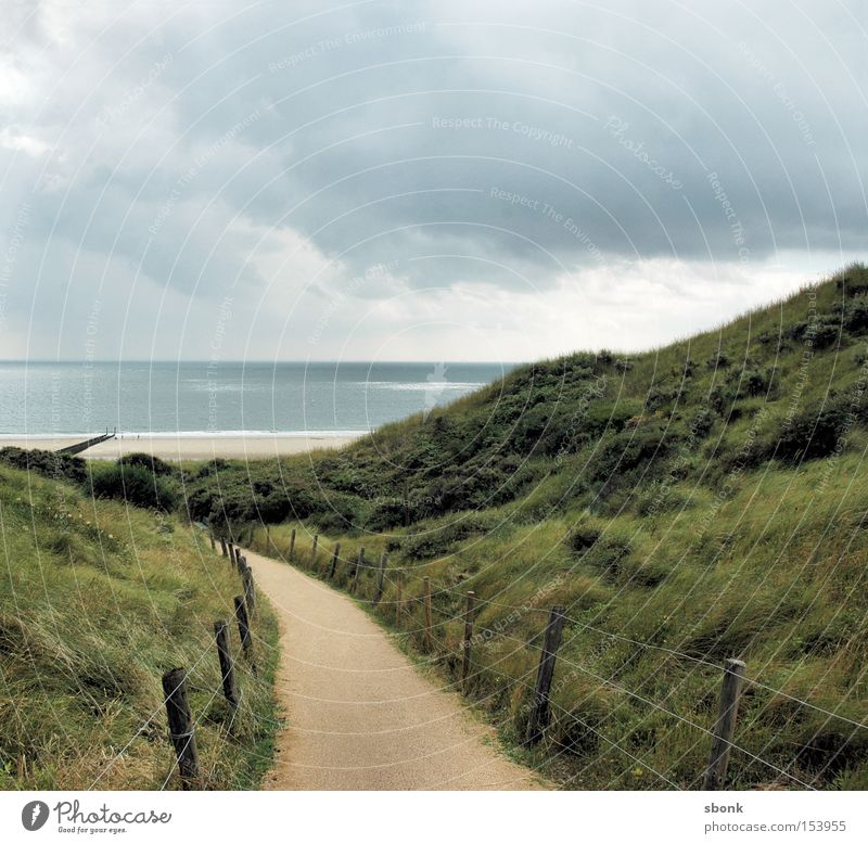 Here and Now Beach Ocean Lake Clouds Rain Weather Gale Lanes & trails Fence Netherlands Shadow