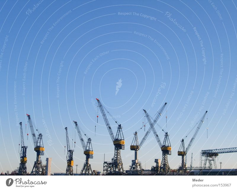 Hamburg Sky Blue Ocean Movement Business Watercraft Germany Work and employment Large Industry Construction site Logistics Clarity North Sea Harbour
