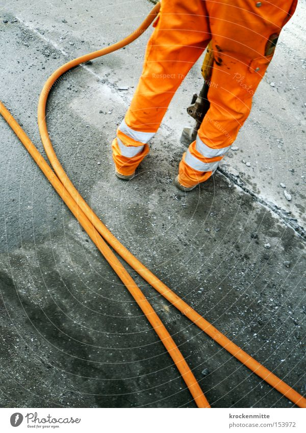 Man Street Work and employment Gray Orange Asphalt Stripe Hose Working man Tar Workwear Road construction