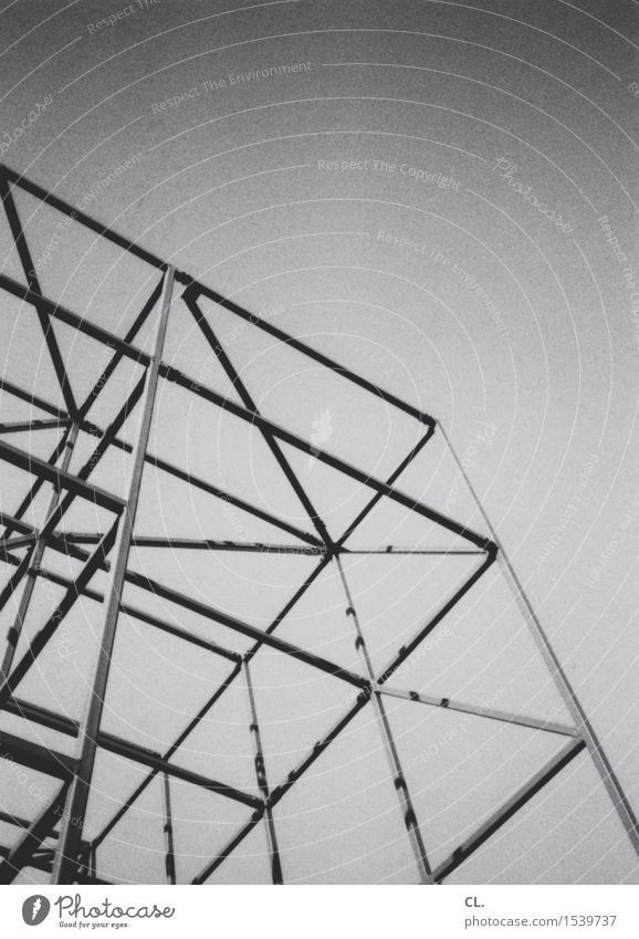 scaffolding Construction site Cloudless sky Beautiful weather Building Architecture Scaffolding Sharp-edged Complex Black & white photo Exterior shot Abstract