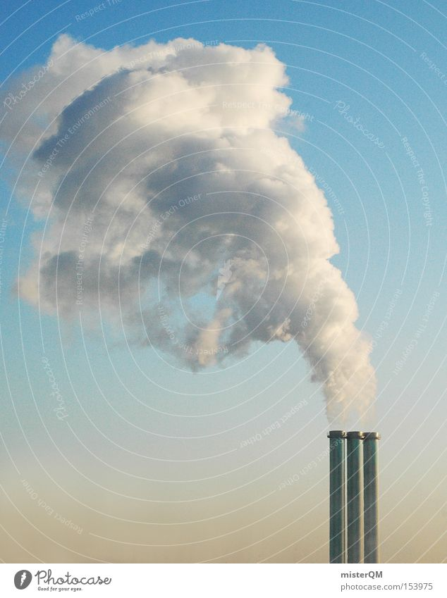Global warming II Smoke Exhaust gas Chimney Climate change Greenhouse gas Environment Environmental protection Winter Warm period Electricity generating station