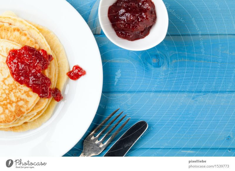Pancakes with jam II Food Fruit Dough Baked goods Dessert Candy Jam Nutrition Breakfast Lunch Vegetarian diet Diet Plate Cutlery Knives Fork Overweight