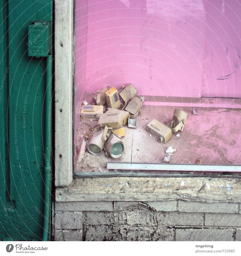 Look, windows! Shop window Old Broken Lamp Pink Green Loneliness Facade Multicoloured Colour Graphic Frontal Dirty Dust Derelict