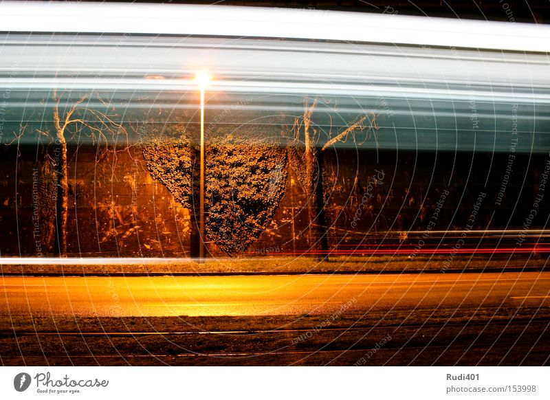 through the picture Basel Shift work Winter Lantern Street Wall (building) Speed Long exposure Past Driving Across Horizontal Light Tram Railroad tracks