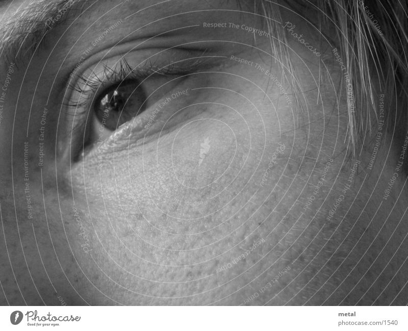 Eye, dreamy Man Macro (Extreme close-up) Black & white photo Eyes moored
