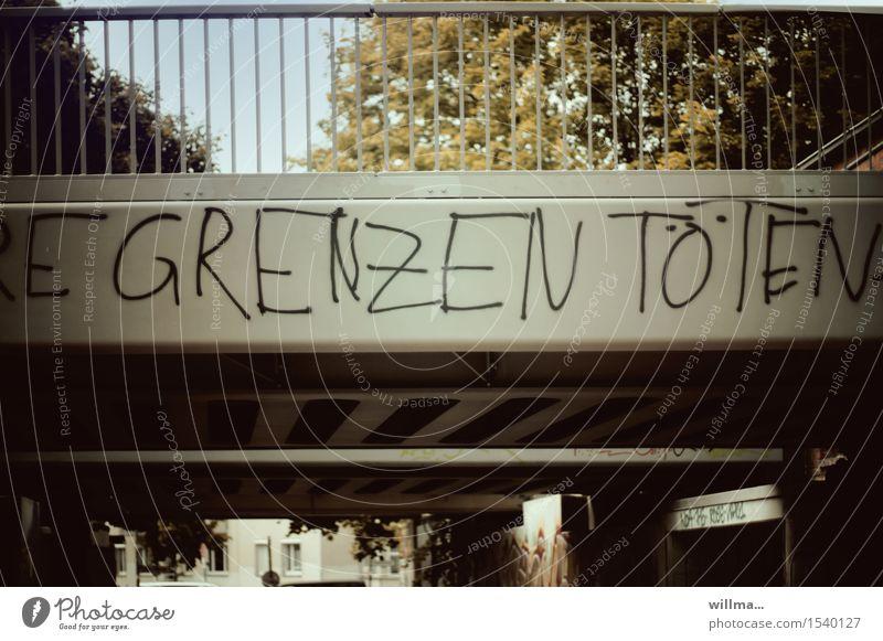 live ticker Bridge Border Characters Graffiti Politics and state Protest Flee Escape route Refugee Kill borders Warn refugee crisis Colour photo Exterior shot