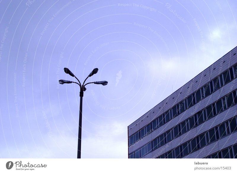 Eastern bloc Soviet Union Street lighting Lantern High-rise Office building Block Gray Gloomy Architecture East German