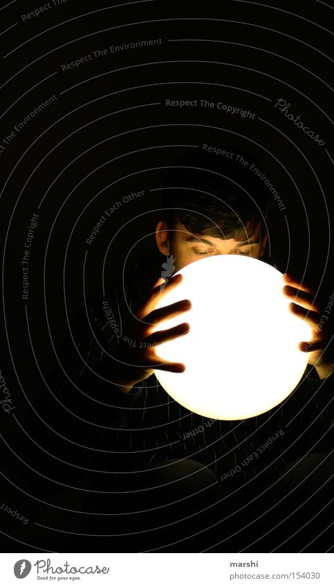 Human being Man Lamp Dark Hope Future Expectation Ask Eerie Glass ball Anticipating