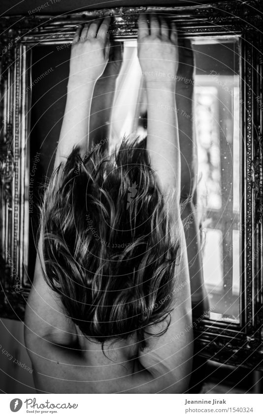 illusion Hair and hairstyles Interior design Mirror Hairdresser Feminine Head Back Arm To fall To hold on Hang Sharp-edged Naked Energy Resolve Identity Ease
