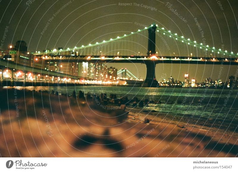 rest from the stress of the city. Water Bridge East River Beach Surf Town River bank Light Twilight Calm Manhattan New York City Coast