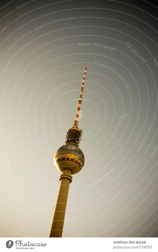 Big Brother Berlin TV Tower Television tower Transmitting station Alexanderplatz Downtown Berlin Landmark Tall Sphere Mystic Sunset Beautiful Idyll Monument Sky