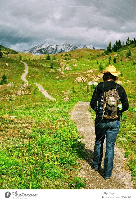 Heavy gear Leisure and hobbies Mountain Hiking Human being Woman Adults 1 Environment Landscape Sky Clouds Sunlight Summer Foliage plant Meadow Rock Peak