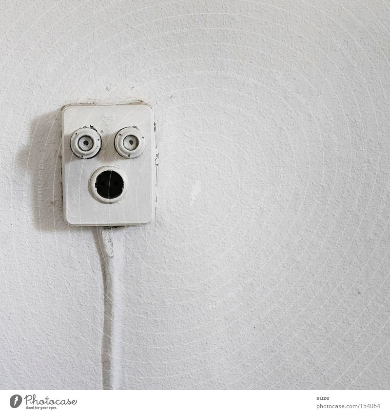 White Joy Face Eyes Wall (building) Funny Mouth Energy Electricity Cable Technology Scream Socket Wallpaper Juice Electrical equipment