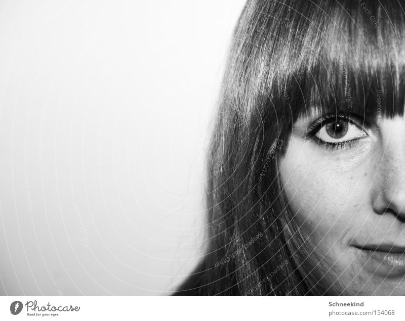Woman White Face Black Eyes Hair and hairstyles Lady Division Half Bangs Affection Part Divided