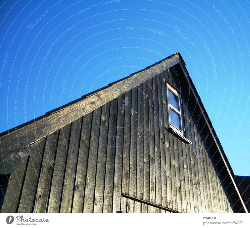 warm wood despite frost Boathouse Ebony Black Wood Blue sky Window Cold Winter Clarity