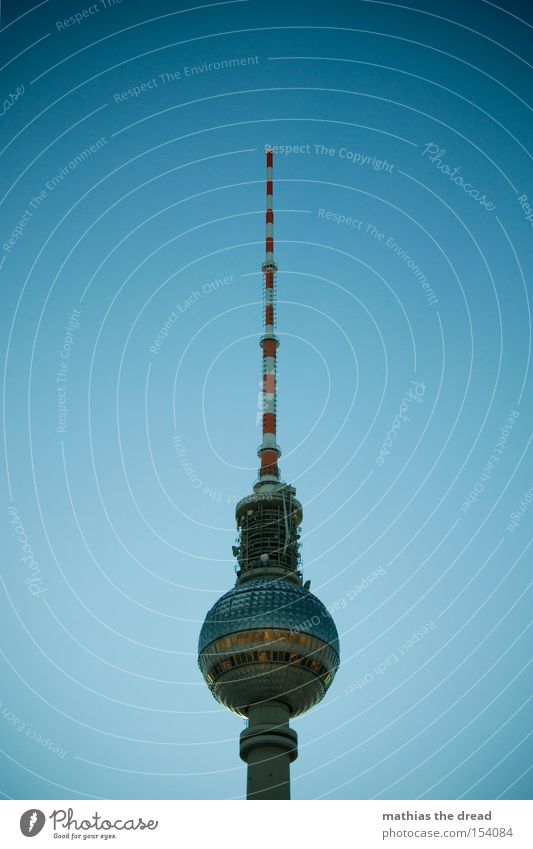 Big Brother Transmitting station Berlin Alexanderplatz Downtown Berlin Landmark Tall Sphere Mystic Blue Beautiful Idyll Sky Silhouette Monument Berlin TV Tower