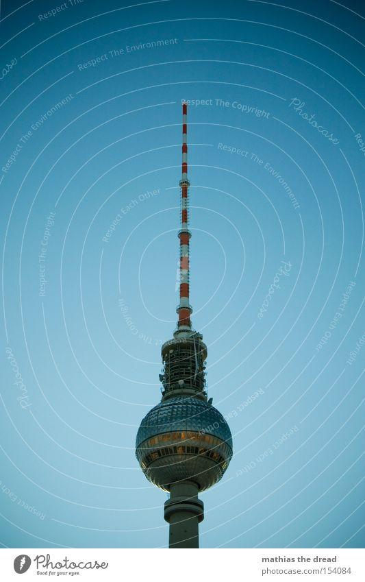 Big Brother Transmitting station Berlin Alexanderplatz Downtown Berlin Landmark Tall Sphere Mystic Blue Beautiful Idyll Sky Silhouette Monument Berlin TV Tower