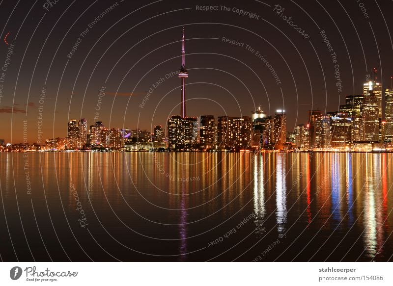 Water City Lake Night Skyline Canada Lakeside Downtown Toronto CN Tower