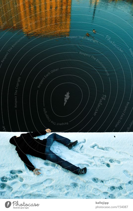 Human being Man Water Winter Cold Snow Bird Coast Frost River Lie Lakeside Duck River bank Murder Body of water