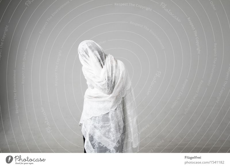 Anonymous Feminine 1 Human being 18 - 30 years Youth (Young adults) Adults Stand Rag Lace Tablecloth Ghosts & Spectres  Disguised Carnival Hide White Bright