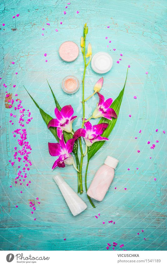Spa or wellness with orchid, cream and lotion Beautiful Personal hygiene Body Cosmetics Cream Healthy Medical treatment Wellness Well-being Relaxation Fragrance