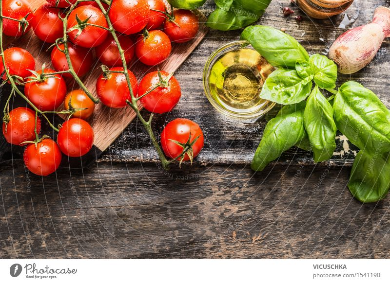 Cherry tomatoes with basil and olive oil Food Vegetable Lettuce Salad Herbs and spices Cooking oil Nutrition Lunch Dinner Buffet Brunch Picnic Organic produce