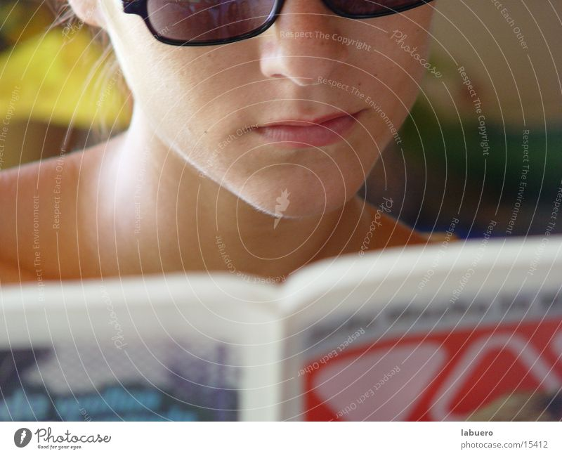 Woman Mouth Reading Eyeglasses Newspaper Media Meal Print media
