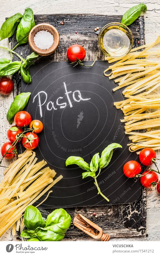Pasta and ingredients for cooking Food Vegetable Grain Herbs and spices Cooking oil Nutrition Lunch Dinner Organic produce Vegetarian diet Diet Italian Food
