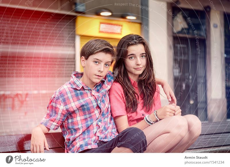 Portrait of two siblings Lifestyle Joy Summer Human being Masculine Feminine Young woman Youth (Young adults) Young man Brothers and sisters Sister 2