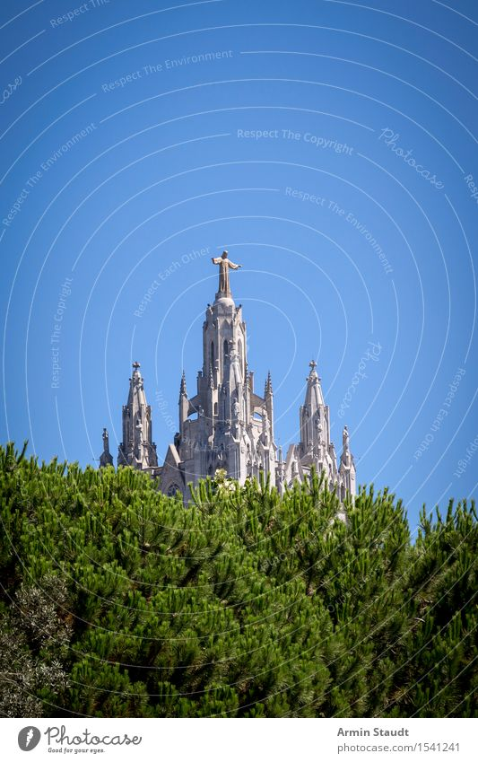 Tibidabo Barcelona Vacation & Travel Sightseeing City trip Summer vacation Sculpture Culture Sky Beautiful weather Outskirts Church Manmade structures