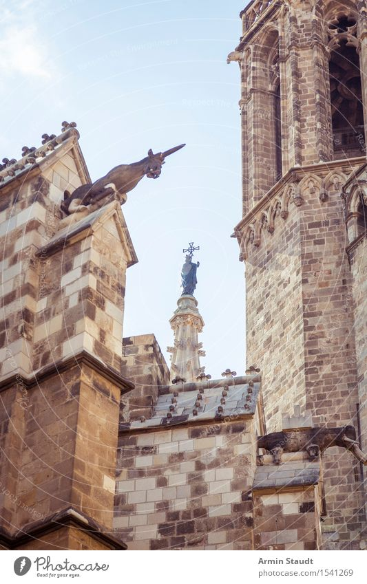 gothic details Art Sculpture Architecture Sky Beautiful weather Church Dome Tower Wall (barrier) Wall (building) Old Barcelona Cathedral unicorn Patron