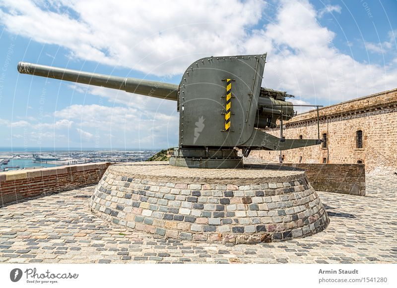 Castell de Montbejuic Barcelona Design Vacation & Travel Tourism Adventure Summer Summer vacation Sky Clouds Beautiful weather Port City Castle Wall (barrier)