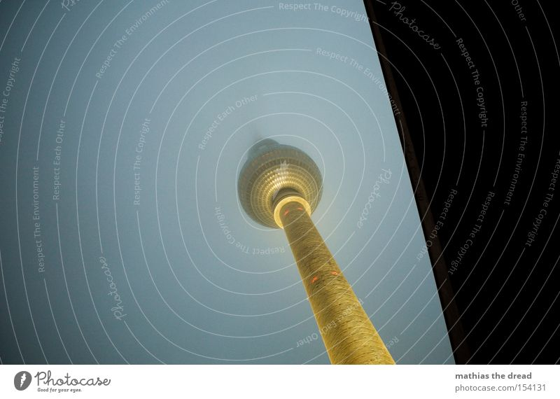 Big Brother Berlin TV Tower Television tower Transmitting station Alexanderplatz Downtown Berlin Landmark Tall Sphere Fog Night Dark Lamp Lighting Mystic