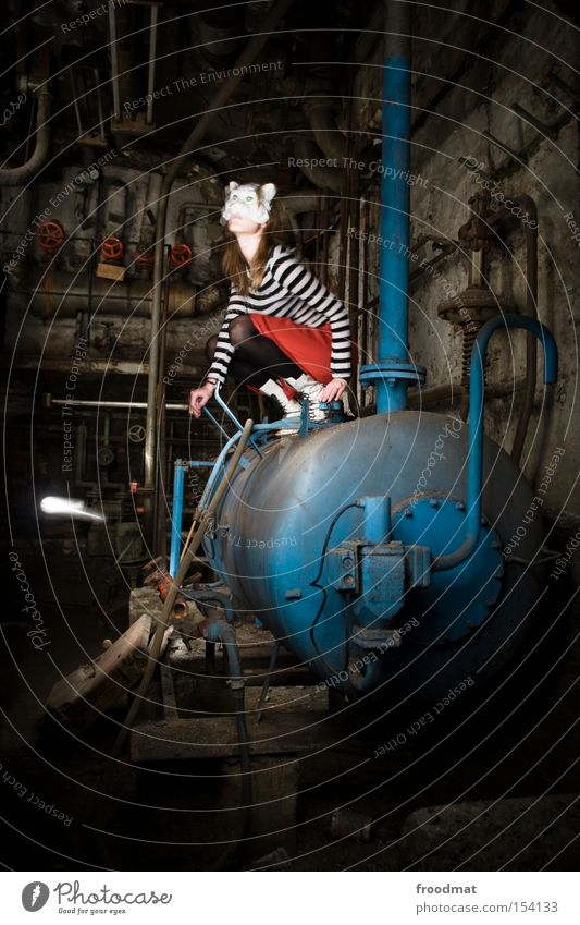 boiler spoiler Heater Heating Cellar Mask Surrealism Long exposure Iron-pipe Pipe Woman Dark Derelict Dirty Crouch Dress up Rust Dust cat light painting