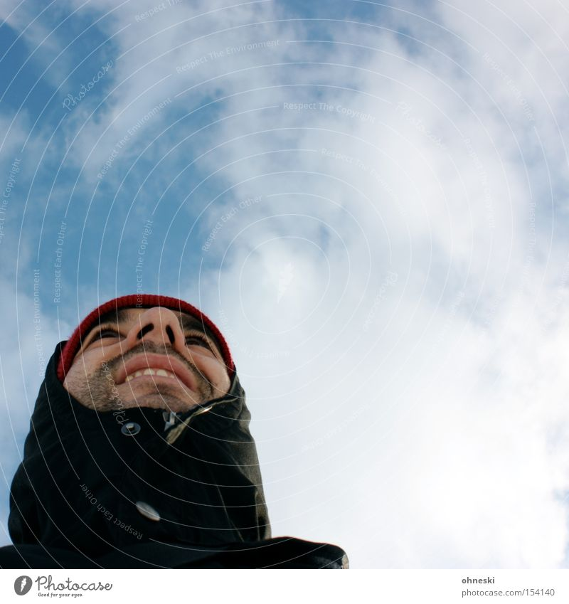 Dress warmly Sky Cold Frost Clothing Jacket Cap Hooded (clothing) Winter Clouds Man Face Freeze ohneski