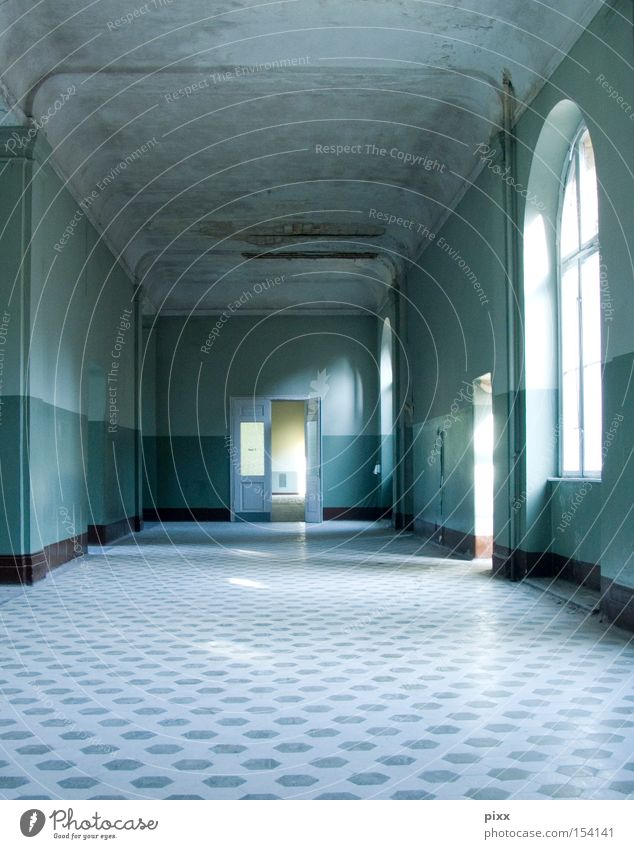 2nd floor left Old building Tile Light Redecorate Hallway Loneliness Fear Entrance Window Large Extensive Structures and shapes Turquoise Architecture Derelict
