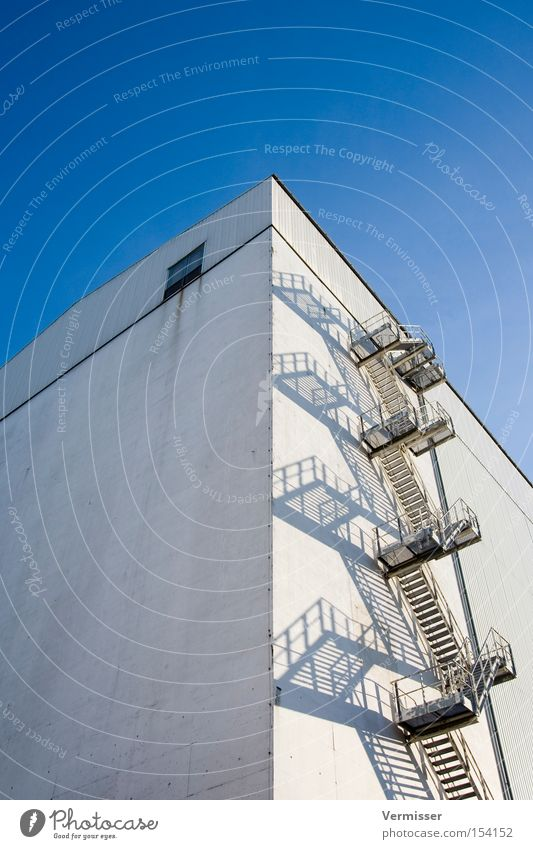 Sky White Building Industry Stairs Dangerous Construction site Industrial plant Winding staircase Escape route