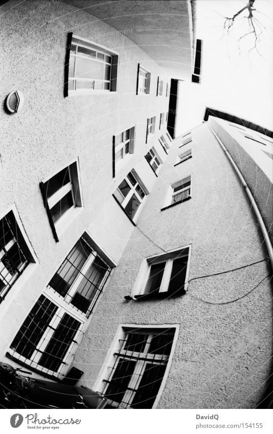 corner - round Corner Backyard Block Old building House (Residential Structure) Town house (City: Block of flats) Facade Window Tree Sky Fisheye