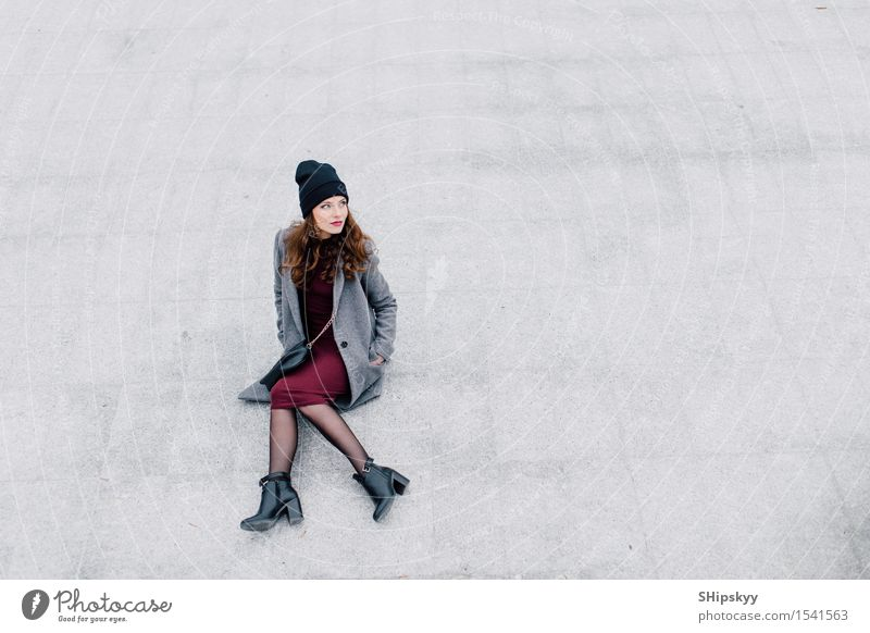 Young woman sitting on the street Human being Woman City Beautiful Joy Girl Face Adults Street Life Style Lifestyle Happy Fashion Leisure and hobbies Fresh