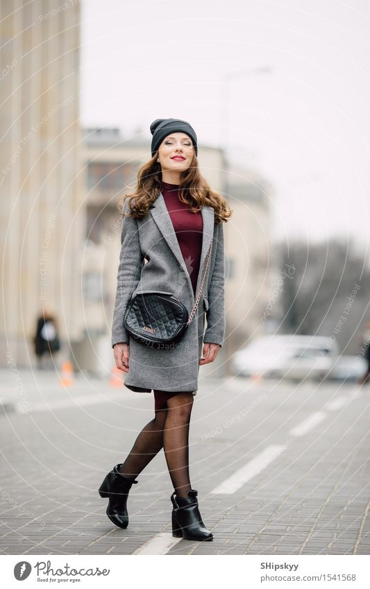 Woman standing on the street Lifestyle Elegant Style Beautiful Face Make-up Human being Girl Adults Autumn Small Town Street Fashion Clothing Coat Brunette Hair