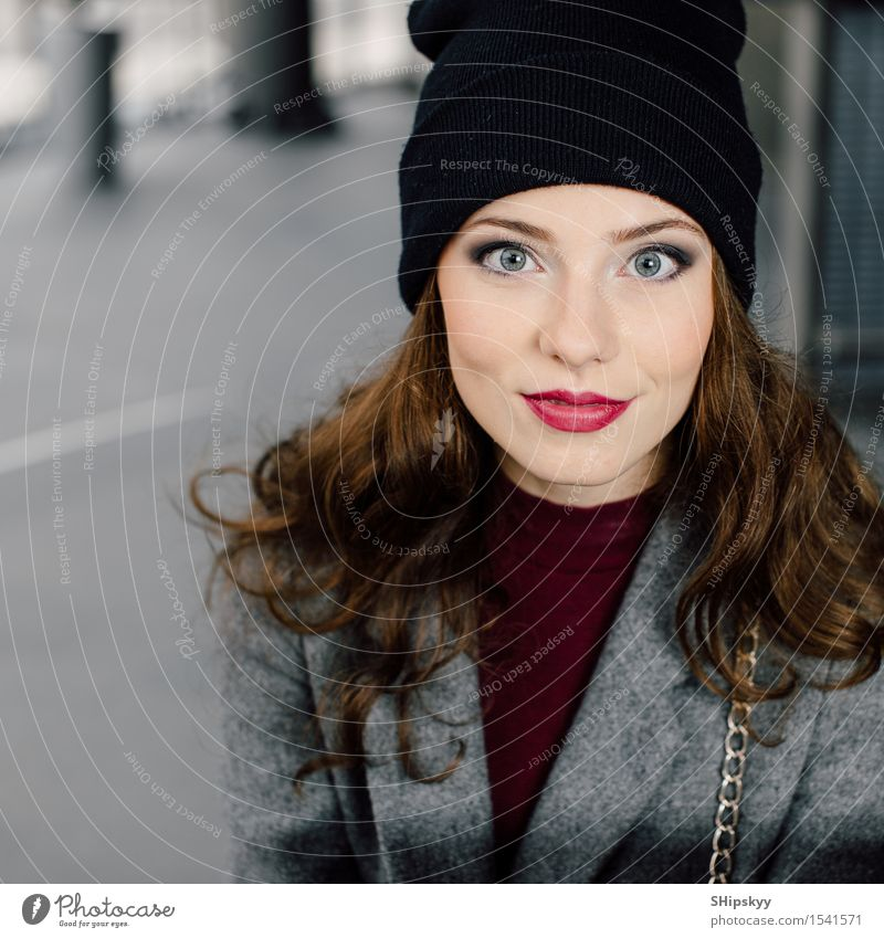 Young woman sitting in office buinding Human being Woman Beautiful Colour Girl Face Adults Eyes Lifestyle Business Work and employment Office Modern Sit Smiling Photography